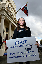 Pictured is Lucy Bryne. Protesters take part in the 'Blue Murder' stop whaling protest outside of the Norwegian Embassy as part of a worldwide anti-whaling initiative. Friday, 8th November 2013. Picture by Ben Stevens / i-Images