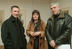 Pictured at the opening of an exhibition by Karen Spence at the Custom House Studio Gallery were Fr. John Kenny, Karen Spence (Artist) and Cllr Declan Dever. <br />The exhibition runs until March the 14th.