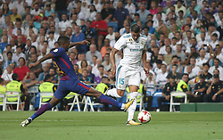 August 16, 2017 - Madrid, Spain - Nélson Semedo and Theo Hernandez. Real Madrid defeated Barcelona 2-0 in the second leg of the Spanish Supercup football match at the Santiago Bernabeu stadium in Madrid, on August 16, 2017. (Credit Image: © Antonio Pozo/VW Pics via ZUMA Wire)