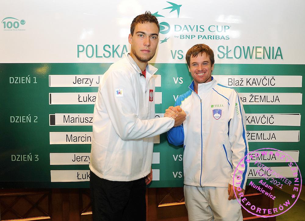 Wroclaw 31/01/2013.Davis Cup .Poland vs Slovenia.Jerzy Janowicz and Blaz Kavcic /r/.Photo by : Piotr Hawalej