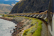 Rocky Mountaineer train, Canadian Cascades, mountain views, sky view cars, Fraser River