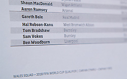 CARDIFF, WALES - Thursday, March 16, 2017: Liverpool's Ben Woodburn makes Chris Coleman's squad list ahead of a press conference at the Vale Resort to announce the squad for the forthcoming 2018 FIFA World Cup Qualifying Group D match against Republic of Ireland. (Pic by David Rawcliffe/Propaganda)