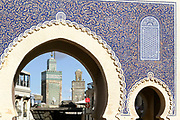 FEZ, MOROCCO - 17th NOVEMBER 2013 - Bab Boujloud / Bab Bou Jeloud, the Blue Gate, old Fez Medina, Middle Atlas Mountains, Morocco.