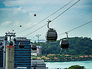 28 DECEMBER 2015 - SINGAPORE, SINGAPORE:  The cable car that runs from Harborfront to Mt Faber to Sentosa Island in Singapore is a popular tourist attraction. Sentosa is a man made island with beaches, theme parks and hotels.       PHOTO BY JACK KURTZ