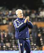 Ipswich manager Mick McCarthy celebrating the win during the Sky Bet Championship match between Fulham and Ipswich Town at Craven Cottage, London, England on 15 December 2015. Photo by Matthew Redman.