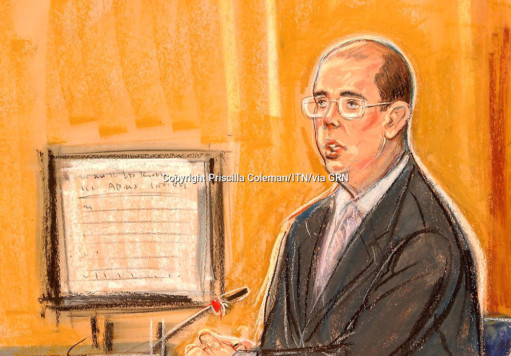 COPYRIGHT PRISCILLA COLEMAN ITV ARTIST 12.08.03.PICTURE SHOWS; ANDREW GILLIGAN IN THE WITNESS BOX AT THE HIGH COURT IN LONDON TODAY. HE IS GIVING EVIDENCE IN THE KELLY INQUIRY..