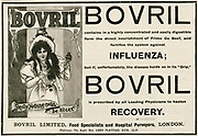 'Bovril, a proprietry beef extract, recommended as an aid to overcoming the Influenza that was raging in London in the winter of 1898.'