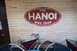 Exterior of The Hanoi Bicycle Shop Vietnamese restaurant in Ruthven Lane mews off Byres Road in Glasgow West End , Scotland, United Kingdom.