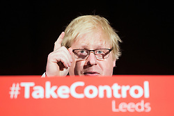 © Licensed to London News Pictures. 16/04/2016. Leeds UK. MP Boris Johnson speaking at a Vote Leave Rally at the Royal Armouries in Leeds campaigning for a leave vote in the EU Referendum that will take place on the 23rd June. Photo credit: Andrew McCaren/LNP