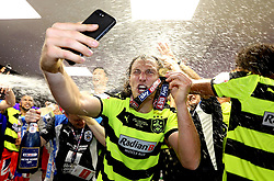 Free to use courtesy of Sky Bet - Michael Hefele of Huddersfield Town celebrates winning the Sky Bet Championship Playoff Final and promotion to the Premier League - Mandatory by-line: Robbie Stephenson/JMP - 29/05/2017 - FOOTBALL - Wembley Stadium - London, England - Huddersfield Town v Reading - Sky Bet Championship Play-off Final