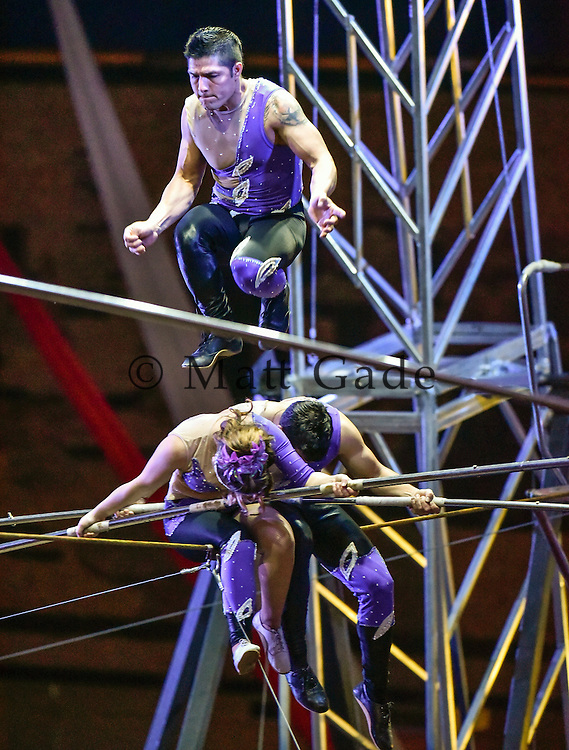 Acrobats on the tight rope during the shrine circus on Monday at the Corn Palace. (Matt Gade/Republic)