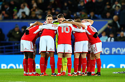 Fleetwood Town huddle - Mandatory by-line: Robbie Stephenson/JMP - 16/01/2018 - FOOTBALL - King Power Stadium - Leicester, England - Leicester City v Fleetwood Town - Emirates FA Cup third round proper