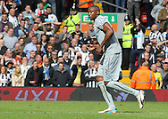 Shola Ameobi of Newcastle United is sent off by referee Phil Dowd during the Barclays Premier League match against Liverpool at Anfield, Liverpool.<br /> Picture by Michael Sedgwick/Focus Images Ltd +44 7900 363072<br /> 11/05/2014