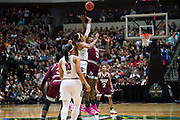 Tipoff between the South Carolina Gamecocks and Mississippi State Lady Bulldogs during the NCAA Women's Championship game at the American Airlines Center in Dallas, Texas on April 2, 2017.  (Cooper Neill for The Players Tribune)