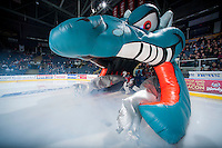 KELOWNA, CANADA - DECEMBER 6: Jackson Whistle #1 of Kelowna Rockets enters the ice against the Prince Albert Raiders on December 6, 2014 at Prospera Place in Kelowna, British Columbia, Canada.  (Photo by Marissa Baecker/Shoot the Breeze)  *** Local Caption *** Jackson Whistle;