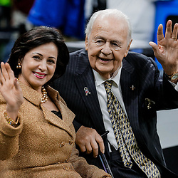 Nov 5, 2017; New Orleans, LA, USA; New Orleans Saints owners Tom Benson and Gayle Benson before a game against the Tampa Bay Buccaneers at the Mercedes-Benz Superdome. Mandatory Credit: Derick E. Hingle-USA TODAY Sports