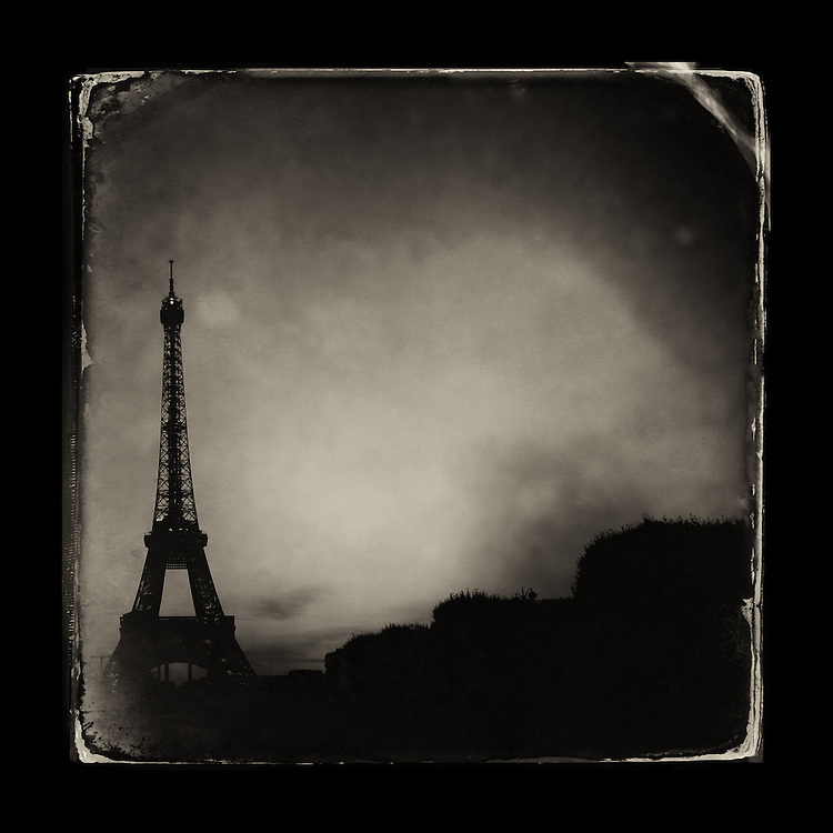 "Charles Blackburn image of the Eiffel Tower in Paris. 5x5"" print."