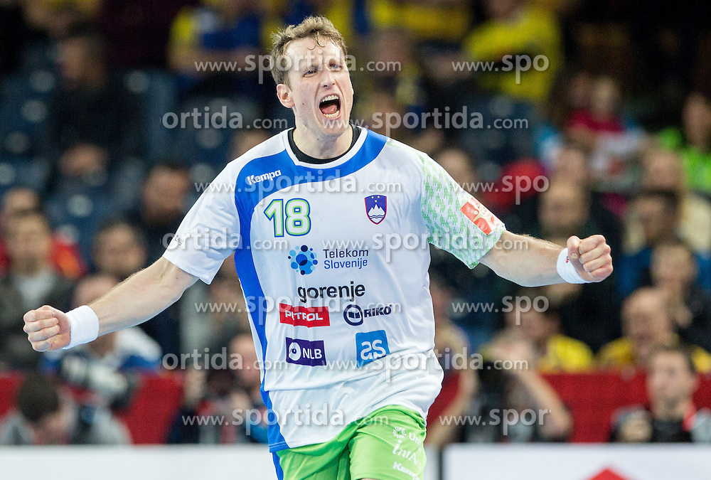 David Miklavcic of Slovenia reacts during handball match between National teams of Slovenia and Spain on Day 4 in Preliminary Round of Men's EHF EURO 2016, on January 18, 2016 in Centennial Hall, Wroclaw, Poland. Photo by Vid Ponikvar / Sportida