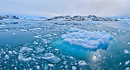 Alberto Carrera, Drift floating Ice and Snowcapped Mountains, Iceberg, Ice Floes, Albert I Land, Arctic, Spitsbergen, Svalbard, Norway, Europe