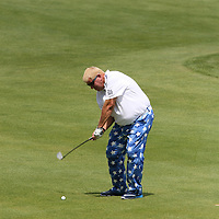 John Daly hitting his second shot on the 18th fairway at the 2016 American Family Championship held at University Ridge Golf Course, Madison,  WI. on June 24, 2016.<br /> <br /> <br /> <br /> <br /> <br />  2016 American Family Championship held at University Ridge Golf Course, Madison,  WI. on June 23, 2016.