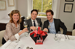 Left to right, VIRGINIE TAITTINGER, FREDDIE FOX and FERDINAND POUGATCH at a lunch to promote the jewellery created by Luis Miguel Howard held at Morton's, Berkeley Square, London on 20th October 2016.