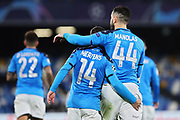 Dries Mertens of Napoli celebrates with Kostas Manolas after scoring 4-0 goal by penalty during the UEFA Champions League, Group E football match between SSC Napoli and KRC Genk on December 10, 2019 at Stadio San Paolo in Naples, Italy - Photo Federico Proietti / ProSportsImages / DPPI