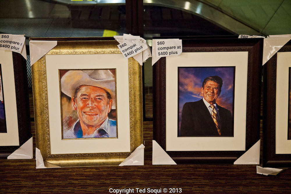 Lithographs of former president Ronald Reagan for sale at the California State Convention.