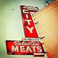 Little city market sign on the streets of America