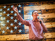 11 MAY 2019 - DAVENPORT, IOWA: JOHN HICKENLOOPER, the former Governor of Colorado, talks to Scott County (IA) Democrats during a campaign event at Baked Beer and Bread, a microbrew/bakery in Davenport. Gov. Hickenlooper met with voters in Davenport Saturday. He is campaigning in Iowa this weekend to be the Democratic party's nominee for the US Presidency. Iowa traditionally hosts the the first election event of the presidential selection cycle. The Iowa Caucuses will be on Feb. 3, 2020.          PHOTO BY JACK KURTZ
