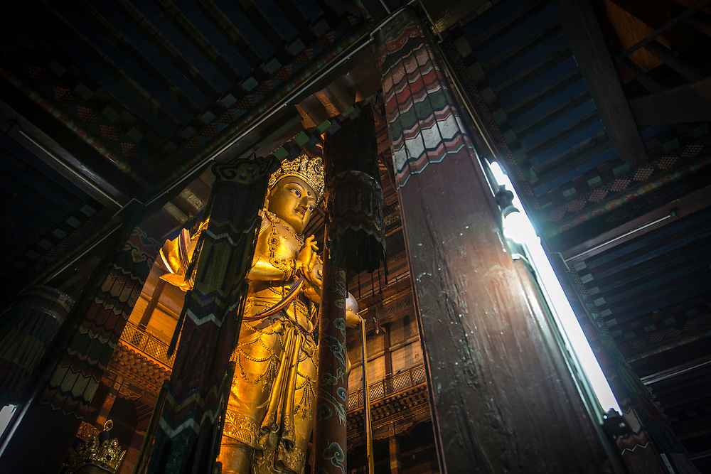 "A 26.5-meter-high statue of Migjid Janraisig, a Buddhist bodhisattva also known as Avalokitesvara stands in the Gandantegchinlen Monastery, known as the Gandan Monastery, a Tibetan-style monastery in the Ulaanbaatar Mongolian, on July 23, 2012.  The Tibetan name translates to the ""Great Place of Complete Joy."" It currently has over 150 monks in residence. © 2012 Tom Turner Photography"