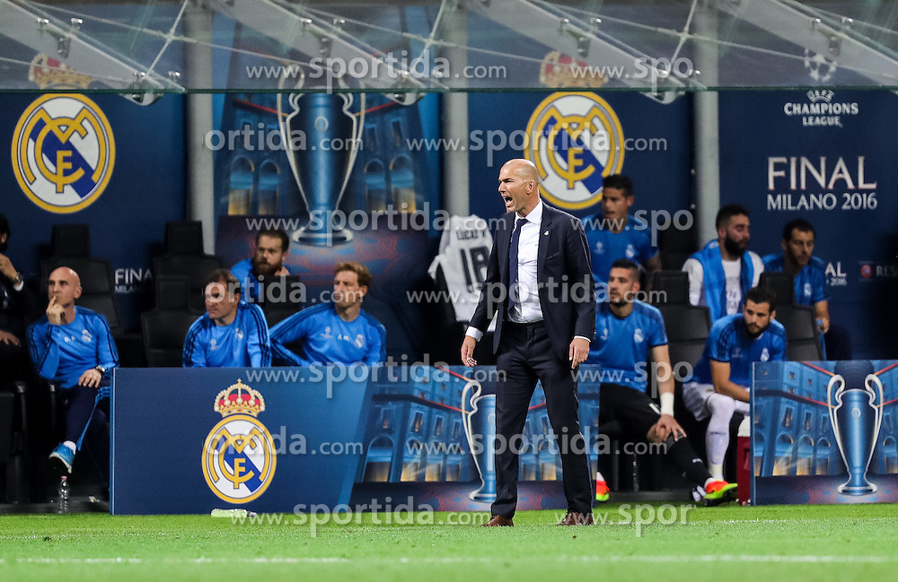 Zinédine Zidane, head coach of Real Madrid during football match between Real Madrid (ESP) and Atlético de Madrid (ESP) in Final of UEFA Champions League 2016, on May 28, 2016 in San Siro Stadium, Milan, Italy. Photo by Vid Ponikvar / Sportida