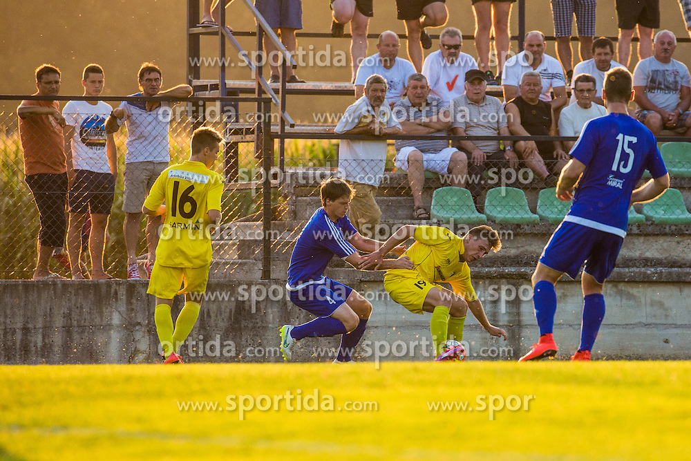 Ziga Erzen of NK Sencur and David Lonzaric of NK Drava Ptuj during football match between NK Sencur and NK Drava Ptuj in 1st Round of 2. SNL, on August 9, 2015 in Sports park Sencur, Sencur pri Kranju, Slovenia. Photo by Grega Valancic / Sportida