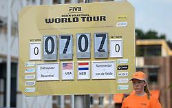 16-07-2014 NED: FIVB Grand Slam Beach Volleybal, Apeldoorn<br /> Poule fase groep A mannen - Scorebord voor de wedstrijd Nederland - USA