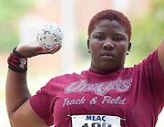 Maryland Eastern Shore junior Vanessa Henry wins the Women's Shot Put with a throw of 14.76 meters at the 2011 MEAC Track and Field Championship held at North Carolina A&T in Greensboro, North Carolina.  (Photo by Mark W. Sutton)