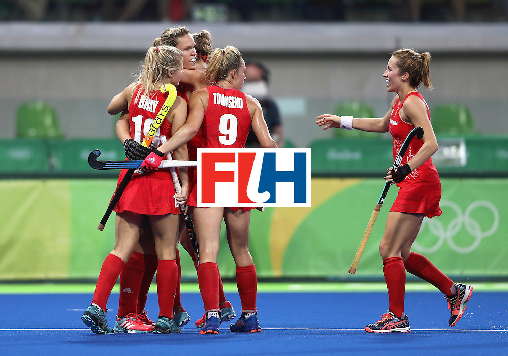 RIO DE JANEIRO, BRAZIL - AUGUST 19:  Crista Cullen of Great Britain celebrates with teammates after scoring her sides second goal against Netherlands on Day 14 of the Rio 2016 Olympic Games at the Olympic Hockey Centre on August 19, 2016 in Rio de Janeiro, Brazil.  (Photo by David Rogers/Getty Images)