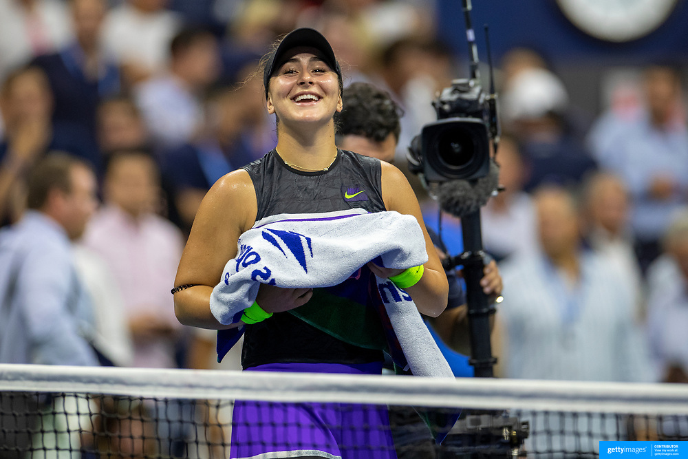 2019 US Open Tennis Tournament- Day Ten.  Bianca Andreescu of Canada celebrates her victory against Elise Mertens of Belgium in the Women's Singles Quarter-Finals match on Arthur Ashe Stadium during the 2019 US Open Tennis Tournament at the USTA Billie Jean King National Tennis Center on September 4th, 2019 in Flushing, Queens, New York City.  (Photo by Tim Clayton/Corbis via Getty Images)