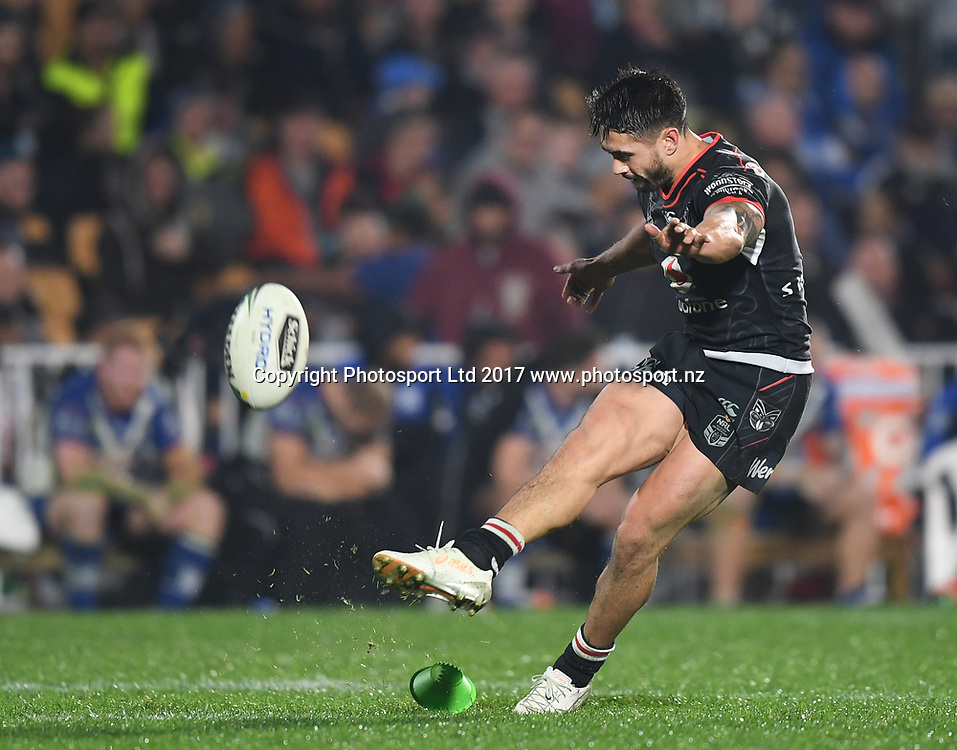 Shaun Johnson.<br /> Vodafone Warriors v  Canterbury Bulldogs. NRL Rugby League. Mt Smart Stadium, Auckland, New Zealand. Friday 23 June 2017 &copy; Copyright Photo: Andrew Cornaga / www.Photosport.nz