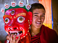 Monk with Chaam Festival mask, Kye Tibetan Buddhist Monastery, Spiti Valley, India