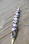 Putney, GREAT BRITAIN,  Cambridge Veterans, passing under Hammersmith Bridge on their way to victory over the Oxford Vet's Blue Boat.   Tideway Week, Championship Course, Putney/Mortlake, Friday   06/04/2012    [Mandatory Credit, Intersport-images],