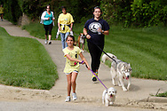 Emi Glass with 11-month-old Coton de Tulear Bentley and Suzanne Clabaugh with two-year-old Siberian Lincoln lead a mini-group of walkers during the Humane Society of Greater Dayton's Furry Skurry at Miami Valley Hospital South in Centerville, Saturday, May 12, 2012.