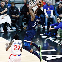 06 December 2017: Minnesota Timberwolves guard Jimmy Butler (23) goes for the layup past LA Clippers guard Lou Williams (23) during the Minnesota Timberwolves 113-107 victory over the LA Clippers, at the Staples Center, Los Angeles, California, USA.
