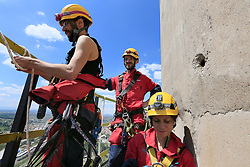 TURKEY SOMA 27APR16 - Greenpeace activists climb a 280-metre tall chimney of the Soma coal-fired power station and rig a large banner. The banner reads 'Grey and Dirty' in the Turkish language.<br /> <br /> jre/Photo by Jiri Rezac / Greenpeace<br /> <br /> &copy; Jiri Rezac 2016