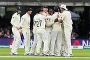 Wicket - Jofra Archer of England celebrates taking the wicket of Cameron Bancroft of Australia which is his first test wicket during the International Test Match 2019 match between England and Australia at Lord's Cricket Ground, St John's Wood, United Kingdom on 16 August 2019.