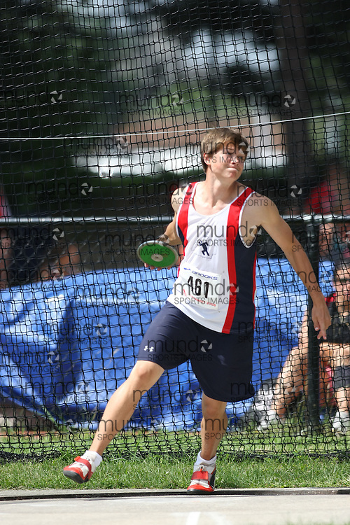 (Toronto, Ontario---2 August 2008)  Kevin Bowman competing in the discus throw at the 2008 OTFA Supermeet II, the Bantam, Midget, Youth Track and Field Championships. This image is copyright Sean W. Burges, and the photographer can be contacted at www.msievents.com.