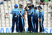 Katie Levick and Yorkshire Diamonds celebrate the wicket of Fi Morris during the Women's Cricket Super League match between Southern Vipers and Yorkshire Diamonds at the Ageas Bowl, Southampton, United Kingdom on 8 August 2018.