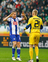 29.10.2011,Volkswagen Arena, Wolfsburg, GER, 1.FBL, VFL Wolfsburg vs Hertha BSC Berlin, im Bild Christian Lell (Berlin #2) freut sich mit Sascha Burchert (Berlin #21) .// during the match from GER, 1.FBL,VFL Wolfsburg vs Hertha BSC Berlin  on 2011/10/29, Volkswagen Arena, Wolfsburg, Germany..EXPA Pictures © 2011, PhotoCredit: EXPA/ nph/  Schrader       ****** out of GER / CRO  / BEL ******