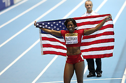 08.03.2014, Ergo Arena, Sopot, POL, IAAF, Leichtathletik Indoor WM, Sopot 2014, im Bild Francena McCorory (USA) wins 400 Metres final // Francena McCorory (USA) wins 400 Metres final during day two of IAAF World Indoor Championships Sopot 2014 at the Ergo Arena in Sopot, Poland on 2014/03/08. EXPA Pictures © 2014, PhotoCredit: EXPA/ Newspix/ Michal Fludra<br /> <br /> *****ATTENTION - for AUT, SLO, CRO, SRB, BIH, MAZ, TUR, SUI, SWE only*****