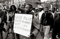 Black people march through London in the mid 80's fighting for justice and equal rights for black people.