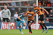 Wycombe Wanderers player Paul Hayes and Barnet player Tom Champion compete for the loose ball during the Sky Bet League 2 match between Barnet and Wycombe Wanderers at The Hive Stadium, London, England on 15 August 2015. Photo by Bennett Dean.