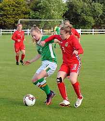 Isibeal Atkinson Republic of Ireland U16 tries to hold off Lithuania&rsquo;s Gintare Blazyte during the Uefa U16&rsquo;s development tournament at Solar 21 Park, Mayo.<br /> Pic Conor McKeown